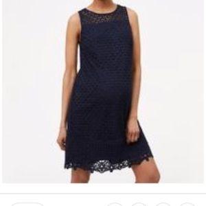 Loft maternity navy blue fan lace shift dress